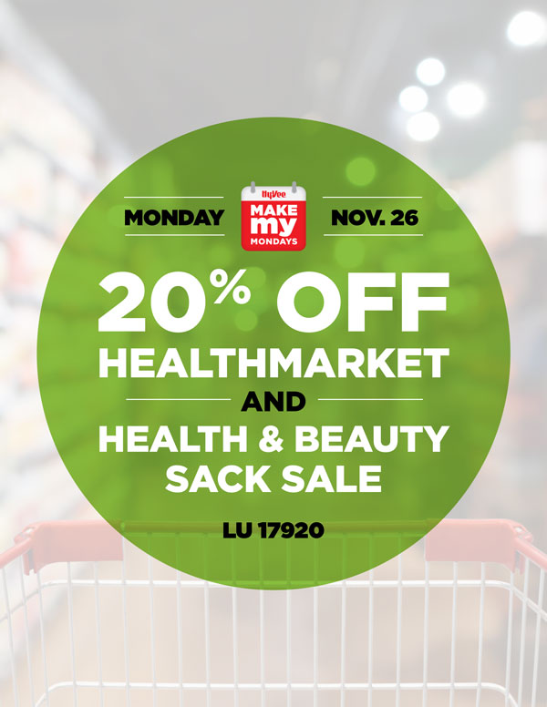 11.26 MMM Promo - 20% Off HealthMarket and Health & Beauty