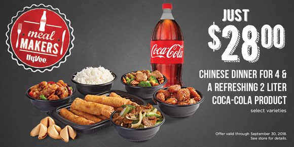 $28.00 CHINESE DINNER FOR 4 & A REFRESHING 2 LITER COCA-COLA PRODUCT