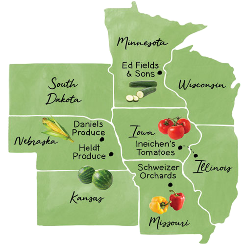 Map of eight states Hy-Vee operates in with some farms listed on it
