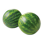 two green watermelons sitting next to each other