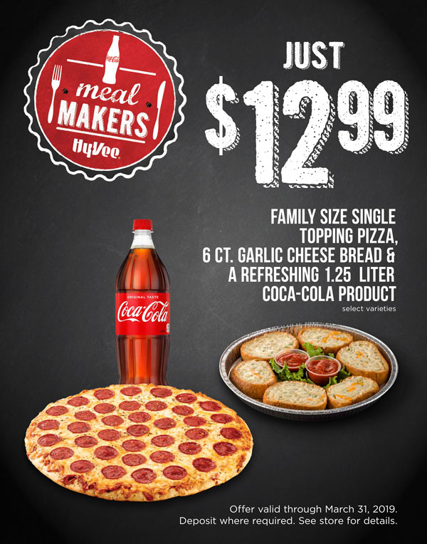 FAMILY SIZE SINGLE TOPPING PIZZA, 6 CT. GARLIC CHEESE BREAD & A REFRESHING 1.25 LITER COCA-COLA PROD