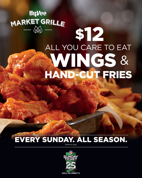 Enjoy $12 all you care to eat wings & hand-cut fries every Sunday.