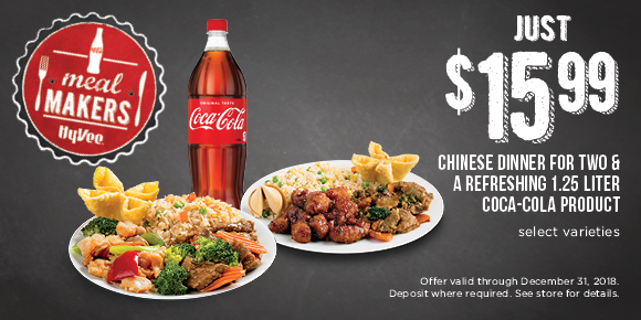 $15.99 CHINESE DINNER FOR TWO & A REFRESHING 1.25 LITER COCA-COLA PRODUCT