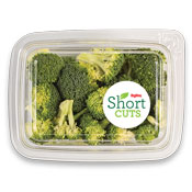 cut up broccoli florets in a plastic container