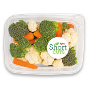 Carrots, broccoli, and cauliflower in a plastic container