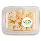 cauliflower florets visible in a plastic container