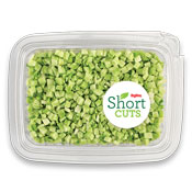 Broccoli that has been cut into very small pieces and placed in a plastic container