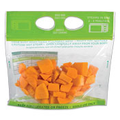 Clear plastic bag filled with butternut squash pieces