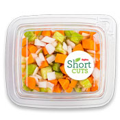 onions, celery, and carrots cut up and mixed together in a plastic container