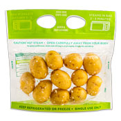 Small round yellow potatoes in a steam bag