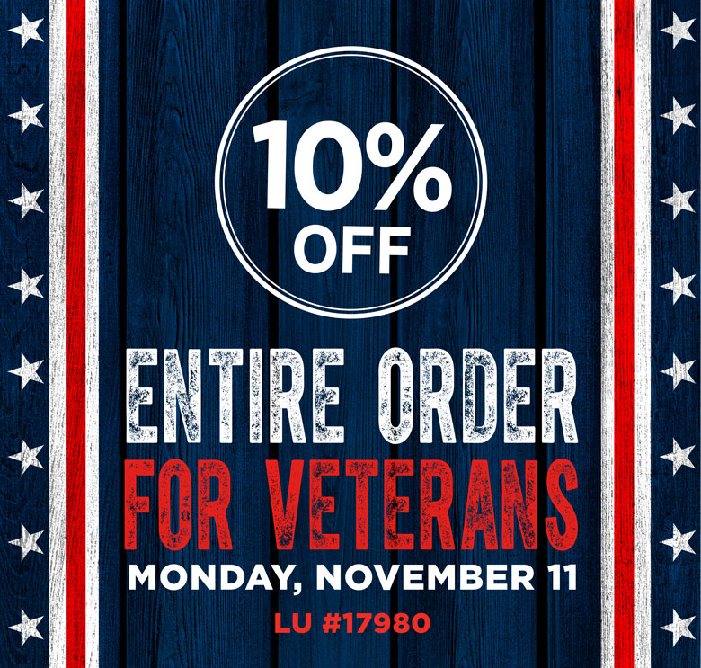 Make My Monday - 10% Off Entire Order for Veterans - November 11, 2019